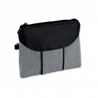 Recycled Grey Fabric and Leather Zipper Clutch
