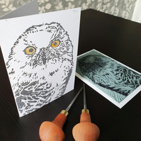 Snowy Owl Linocut Greeting Card - Christmas - Pack of 4