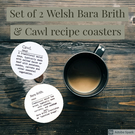 Set of 2 welsh recipe coasters,