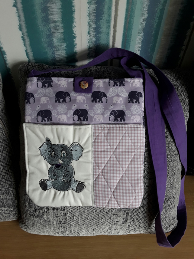 Elephant themed, cross body, patchwork bag with machine embroidery