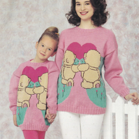 Knitting Pattern Forever Friends Sweater, 24-42in, Patons 5044