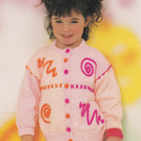 Knitting Pattern Childs Cardie , 20-30in, Patons 5170