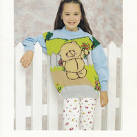 Knitting Pattern Forever Friends Sweater,   Patons 5045