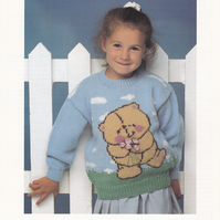 Knitting Pattern Forever Friends Teddy Bear Sweater, 20-30in  Patons 5256