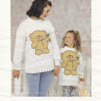Knitting Pattern Forever Friends Teddy Bear Sweater, 24 - 42in  Patons 5041