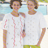 Knitting Pattern Embroidered Lace Tops, 32-42in, Patons 2270