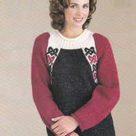 Knitting Pattern Fair Isle & Raglan Sweater, 32-42in, Patons 2204