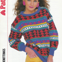 Knitting Pattern Roll Neck Sweater, 32-38in, Patons 8530
