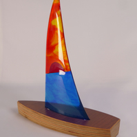 Fused Glass and Wood Sailing Boat