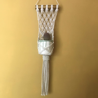 Macrame plant hanger for wall or window