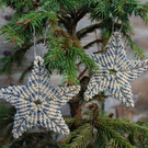 Gold star macrame christmas decoration  - multipack savings