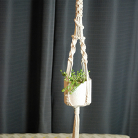 Small macrame plant hanger with spiral detail and beads