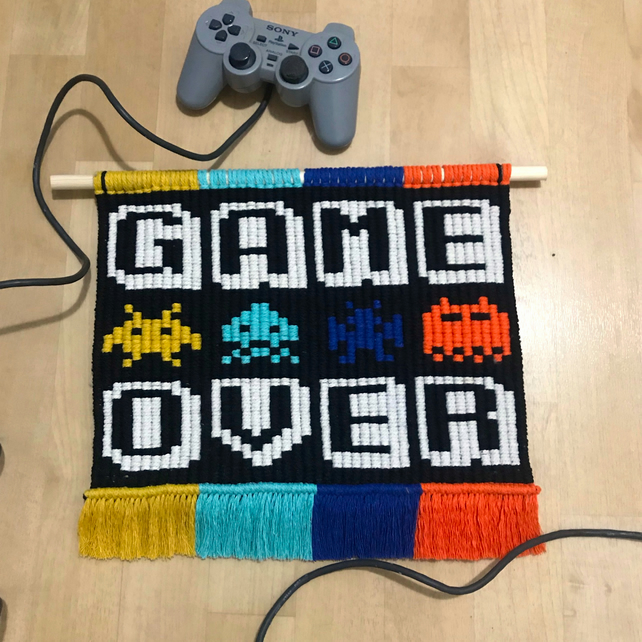 GAME OVER Space Invaders video game pixel art macrame wall hanging
