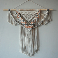 "Boho decor macramé wall hanging, white with colour patterns ""Pablo"""