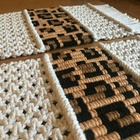 Customisable macrame placemats with patterned centre - sets available