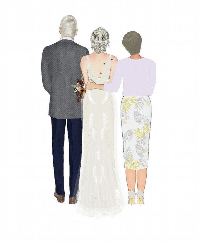 Mother and Daughter Wedding Dress Illustration