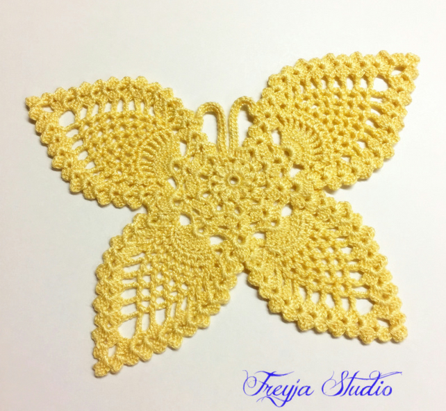 Crochet butterfly applique, Lace butterfly patch, Pinneapple butterfly