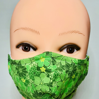 Green flowers, cotton fabric face mask
