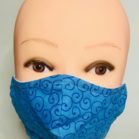 Turquoise blue swirls cotton fabric face mask