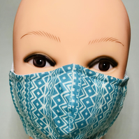 Aqua blue geometric pattern face mask