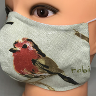 Cotton robin & chaffinch face mask