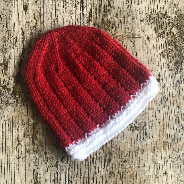 Red and white baby hat