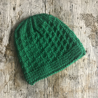 Green knitted baby beanie hat