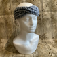 Twist front knitted turban style headband or ear warmer grey and blue