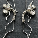 Leaves eco silver earrings with pearls and crystal