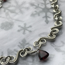 Eco silver necklace with AA Garnet Trilliant Briolette
