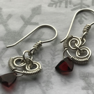 Eco silver earrings with AA Garnet Trilliant Briolette