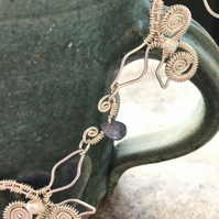 Leaves Eco silver necklace with pearls and Tanzanite faceted briolette
