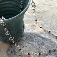 Chalice light Eco silver necklace with Garnet beads