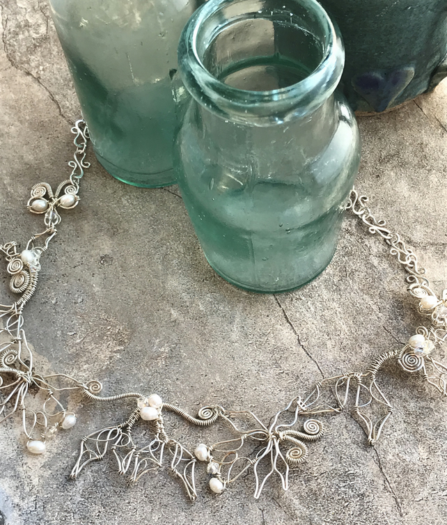 Honeysuckle eco silver necklace with pearls and crystals