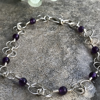 Chalice light Eco silver bracelet with Amethyst beads