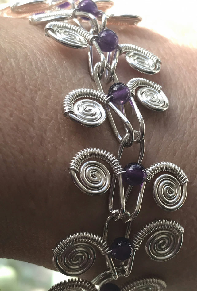 Egypt eco silver bracelet with amethyst