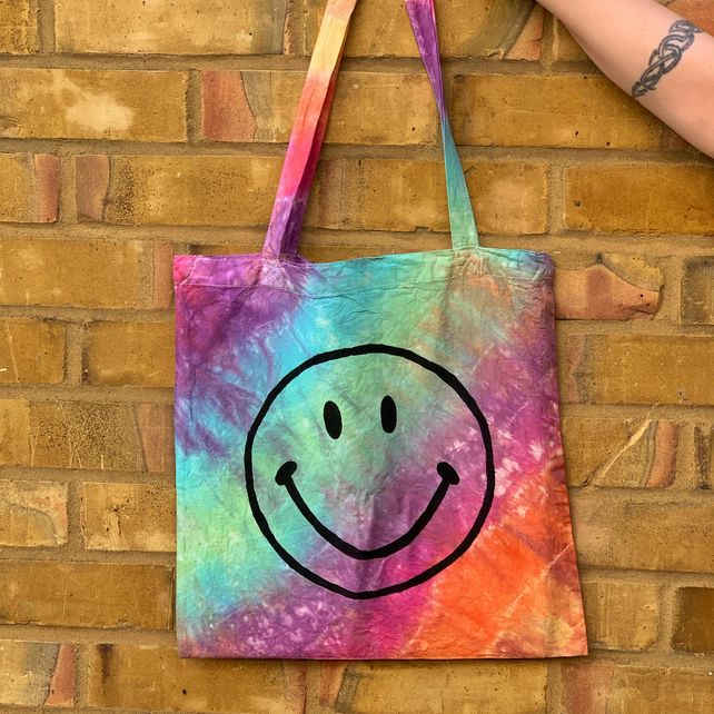 Smiley face Printed Tie-Dye Calico Tote Bag