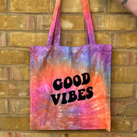 'Good vibes' Printed Tie-Dye Calico Tote Bag