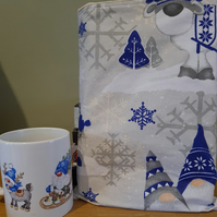 Christmas Gonk Book Sleeve and Mug Blue
