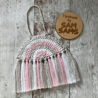 Pink, white and Grey Rainbow Wall Hanging