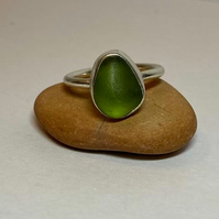 Handmade Sterling Silver Lime green  Seaglass ring Size M