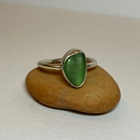 Handmade Sterling Silver Lime green  Seaglass ring Size O