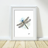 Dragonfly art, illustration, art print, dragonfly, wildlife, nature, unframed