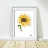 Sunflower, illustration, art print, yellow, floral art, nature, unframed