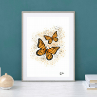 Monarch Butterflies, art, print, illustration, artwork, unframed