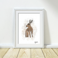 Hare, Art, Illustration, Art Print, Artwork, Animal, Wildlife, Unframed