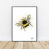Bee, Art, Print, Illustration, Bumble Bee, Nature, Unframed