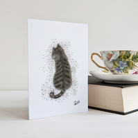 Tabby Cat Greeting Card, Cat, Card, Birthday Card, Personalisation available