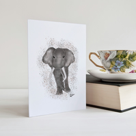 Elephant Card, Elephant, Greeting Card, Animal, Notecard, Personalised