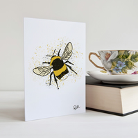 Bee, Bumble Bee, Art, Card, Greeting Card, Notecard, Nature, Personalised